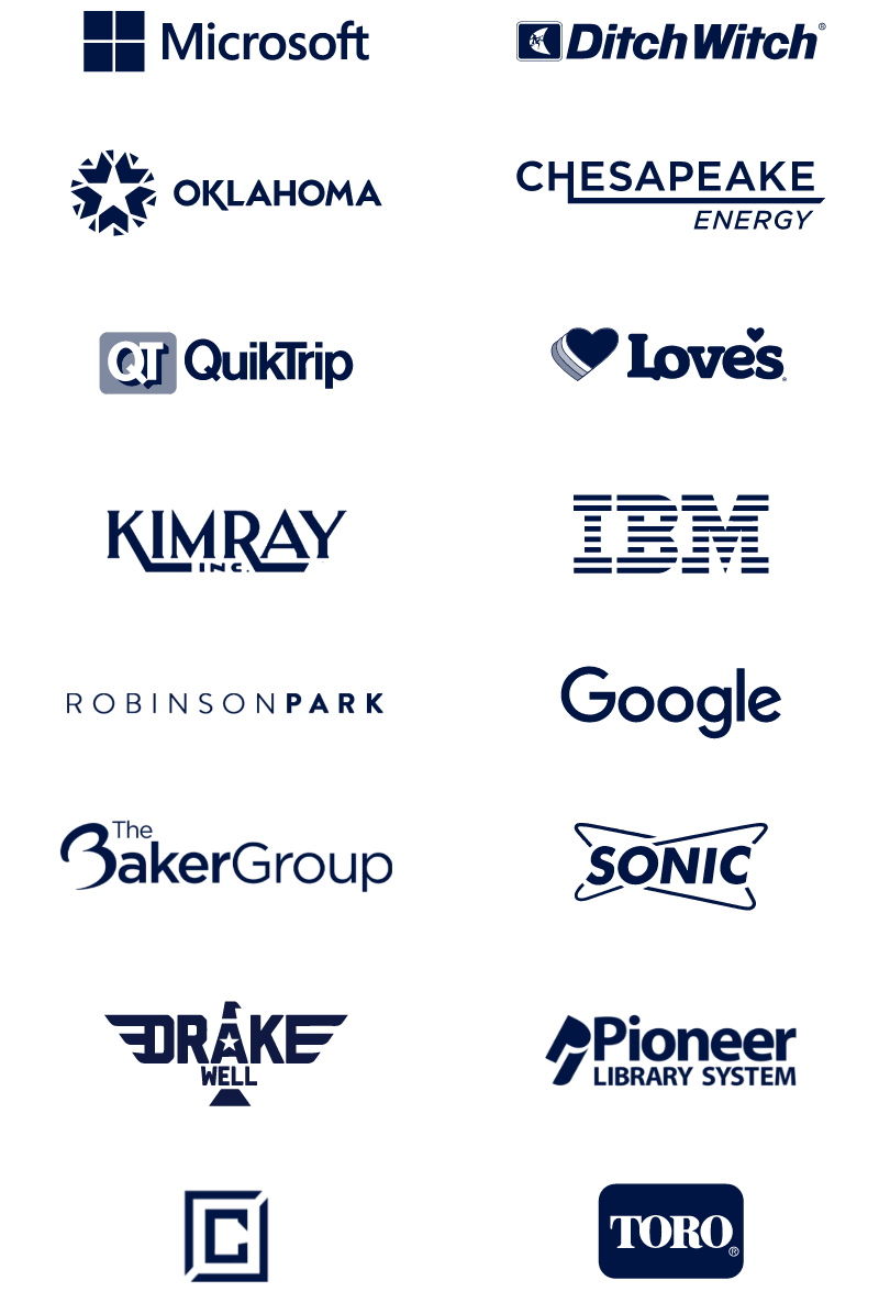 Logos of Phase 2 clients and partners: microsoft, ditch witch, state of Oklahoma, chesapeake energy, quiktrip, love's, kimray, IBM, Robinson Park, Google, The Baker Group, Sonic Drive-In, Drakewell, Pioneer library systems, toro
