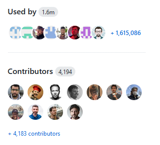 Screenshot of GitHub screen showing Ruby usage stats: Used by 1.6 million and 4,194 contributors on GitHub.