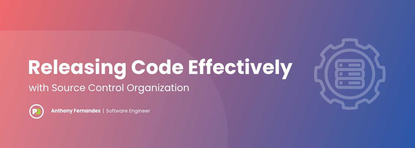 """Blog header with title """"Releasing Code Effectively with Source Control Organization"""" by Anthony Fernandes, Software Engineer. The background is a gradient from coral on the left to a more royal blue on the right, creating a purple effect throughout. The text is bold, white, left justified and on the right side is opaque white line art of a gear or cog with three rectangles in the middle of it, depicting the steps in a project management system."""