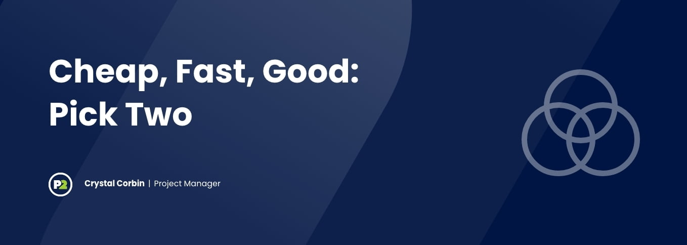 """Blog header with title """"Cheap, Fast, Good: Pick Two"""" by Crystal Corbin, Project Manager. The background is navy, the text is white and there is opaque white line art outline of a three circle venn diagram with one circle on top and two on bottom."""